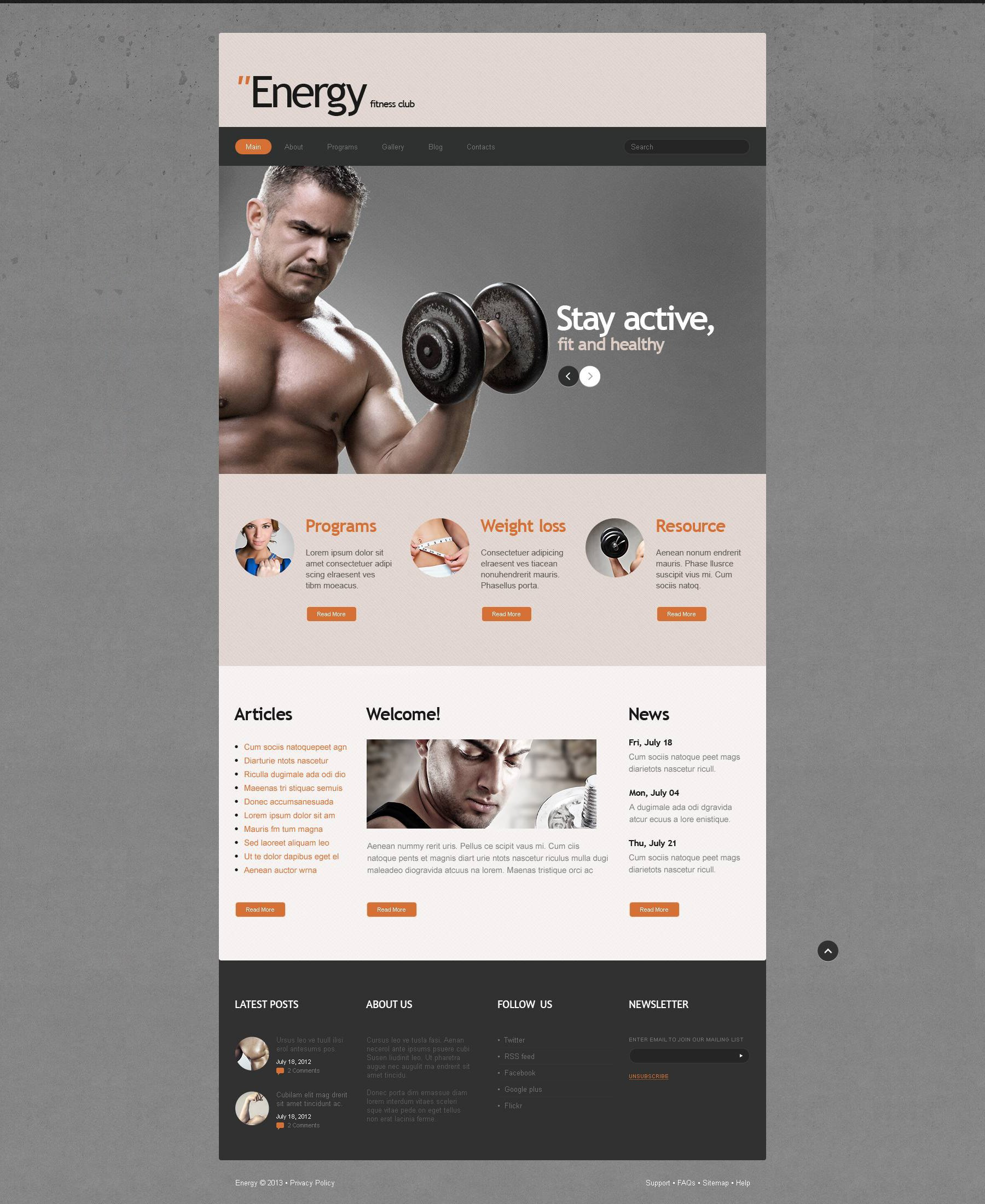 Fitness Responsive Joomla Template - screenshot