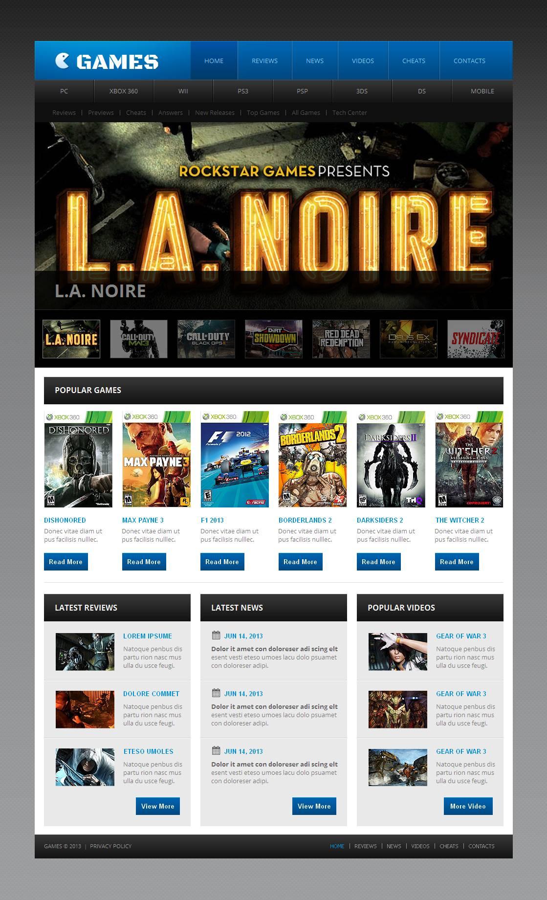 Game Portal Moto CMS HTML Template