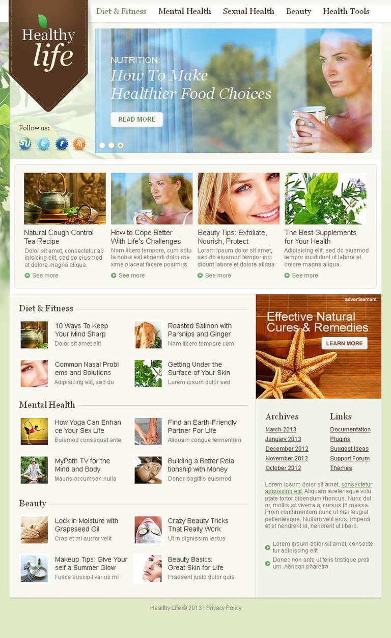 Herbal Facebook HTML CMS Template New Screenshots BIG