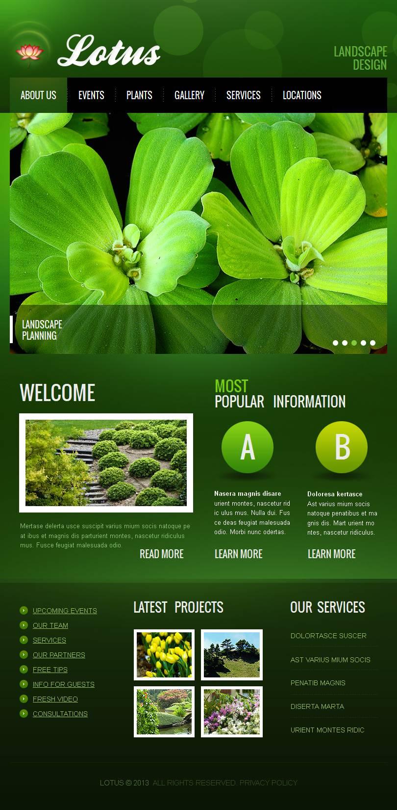 Landscape Design Facebook HTML CMS Template - screenshot