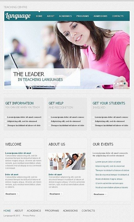 Language School Facebook HTML CMS Template Facebook Screenshot