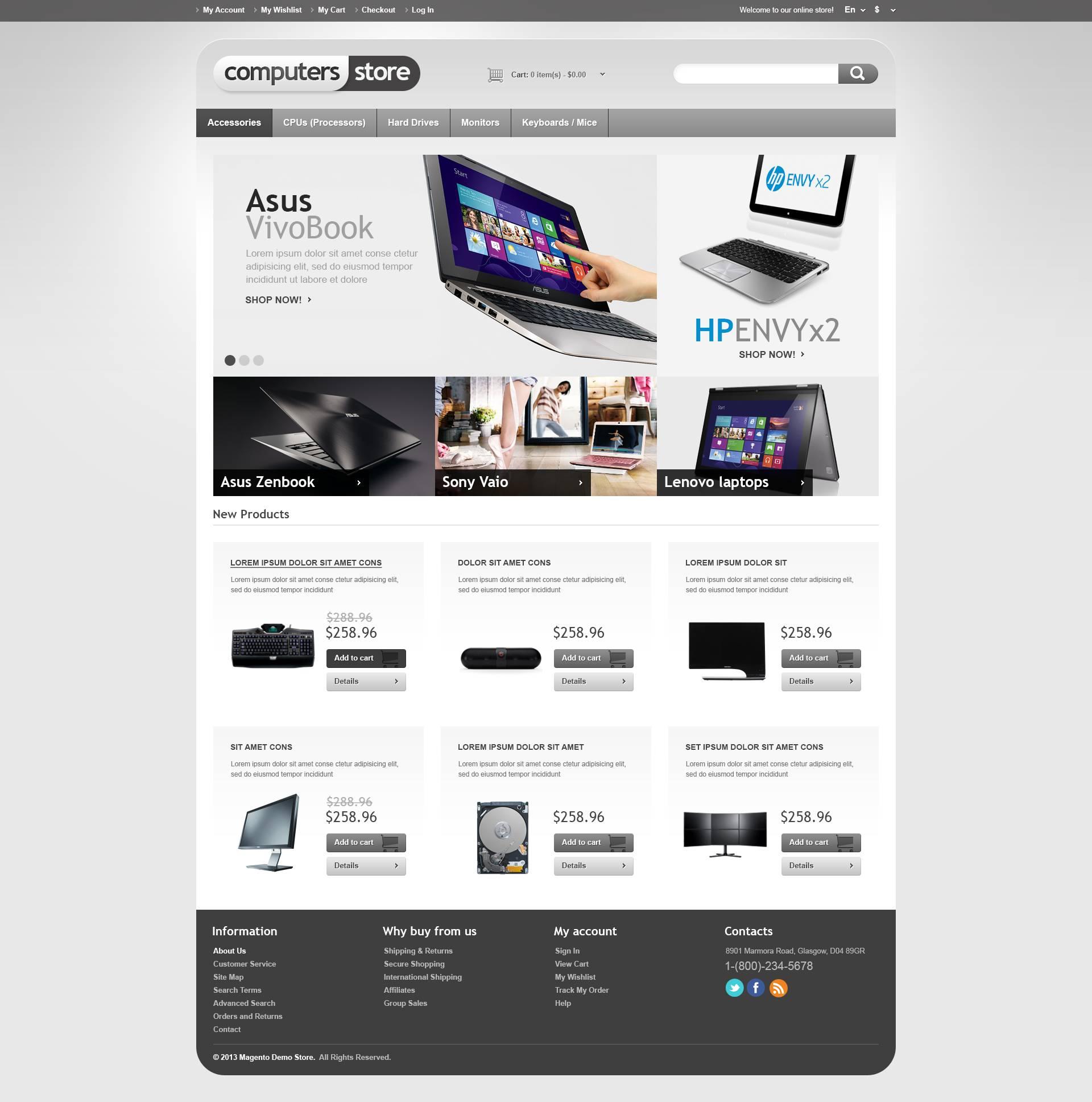 """Magento Theme namens """"Responsiver Computer-Shop"""" #45305 - Screenshot"""