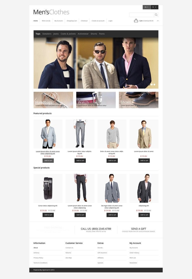 Men's Clothing Store OpenCart Template New Screenshots BIG