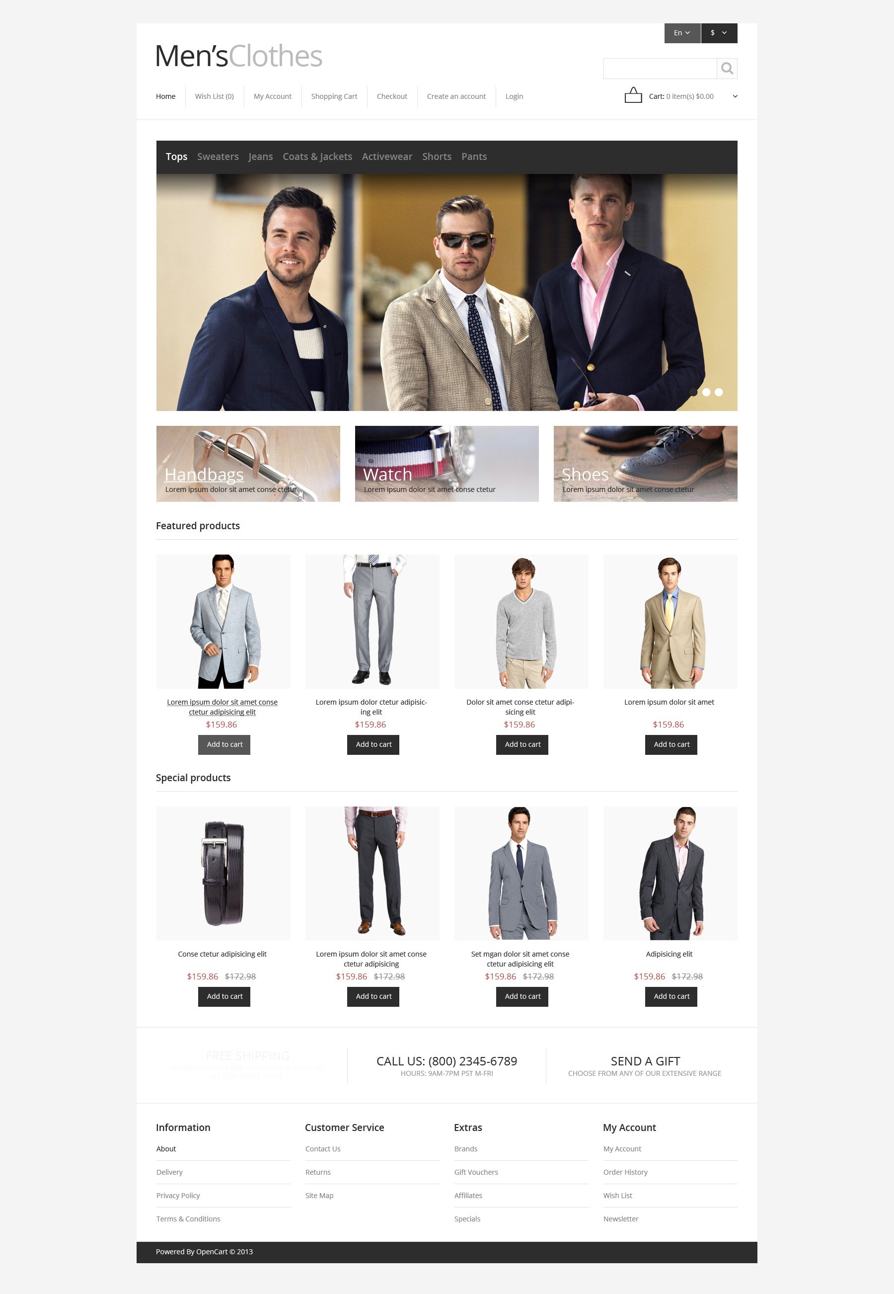 A fashion website - Men S Clothing Store Opencart Template