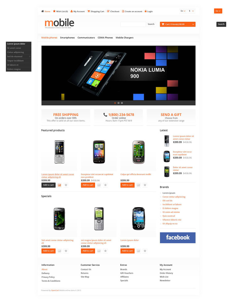 Mobile Store OpenCart Template New Screenshots BIG