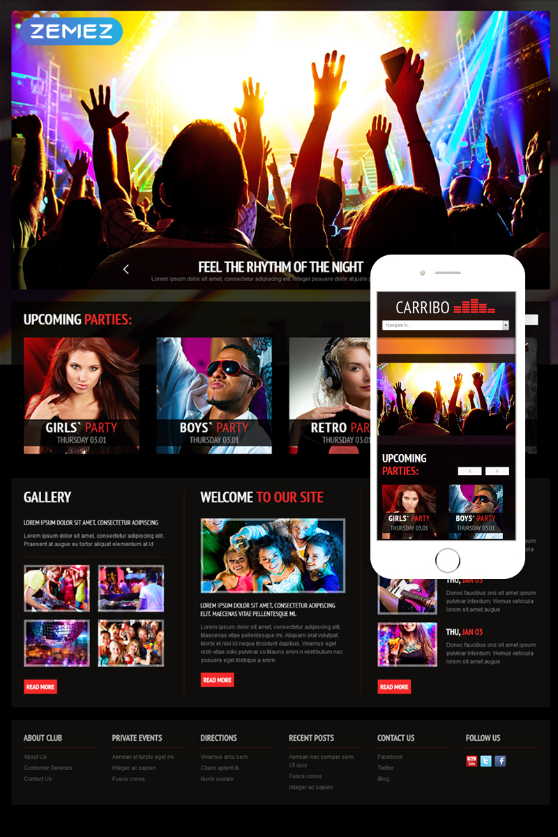 """Night Club"" thème Joomla adaptatif #45332"