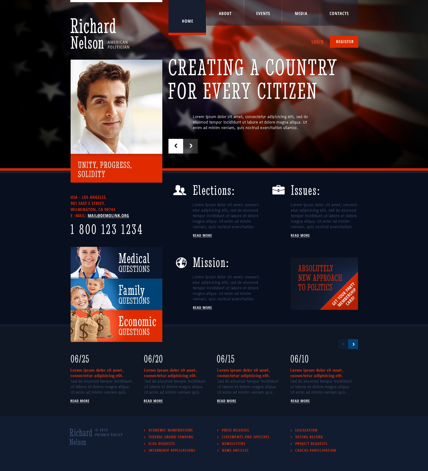 Political Candidate Website Templates