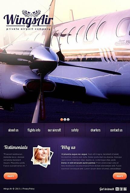 Private Airline Facebook HTML CMS Template Facebook Screenshot