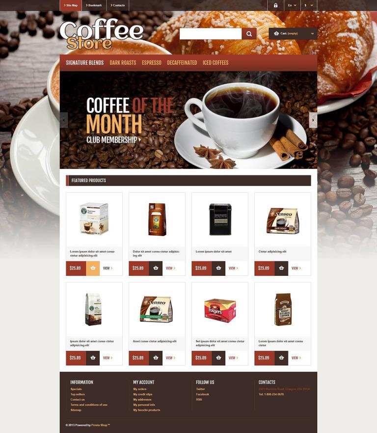 Responsive Coffee Store PrestaShop Theme New Screenshots BIG