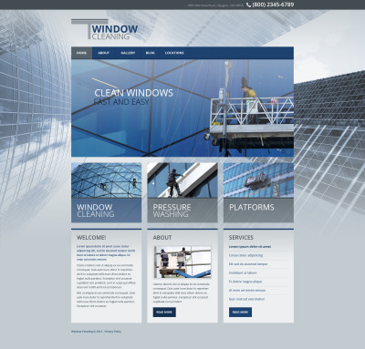 Responsive Website Vorlage für Fensterputzer