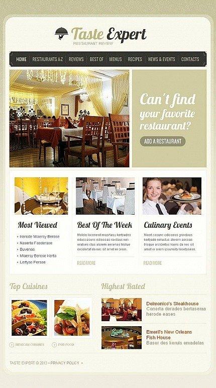 Restaurant Reviews Facebook HTML CMS Template Facebook Screenshot
