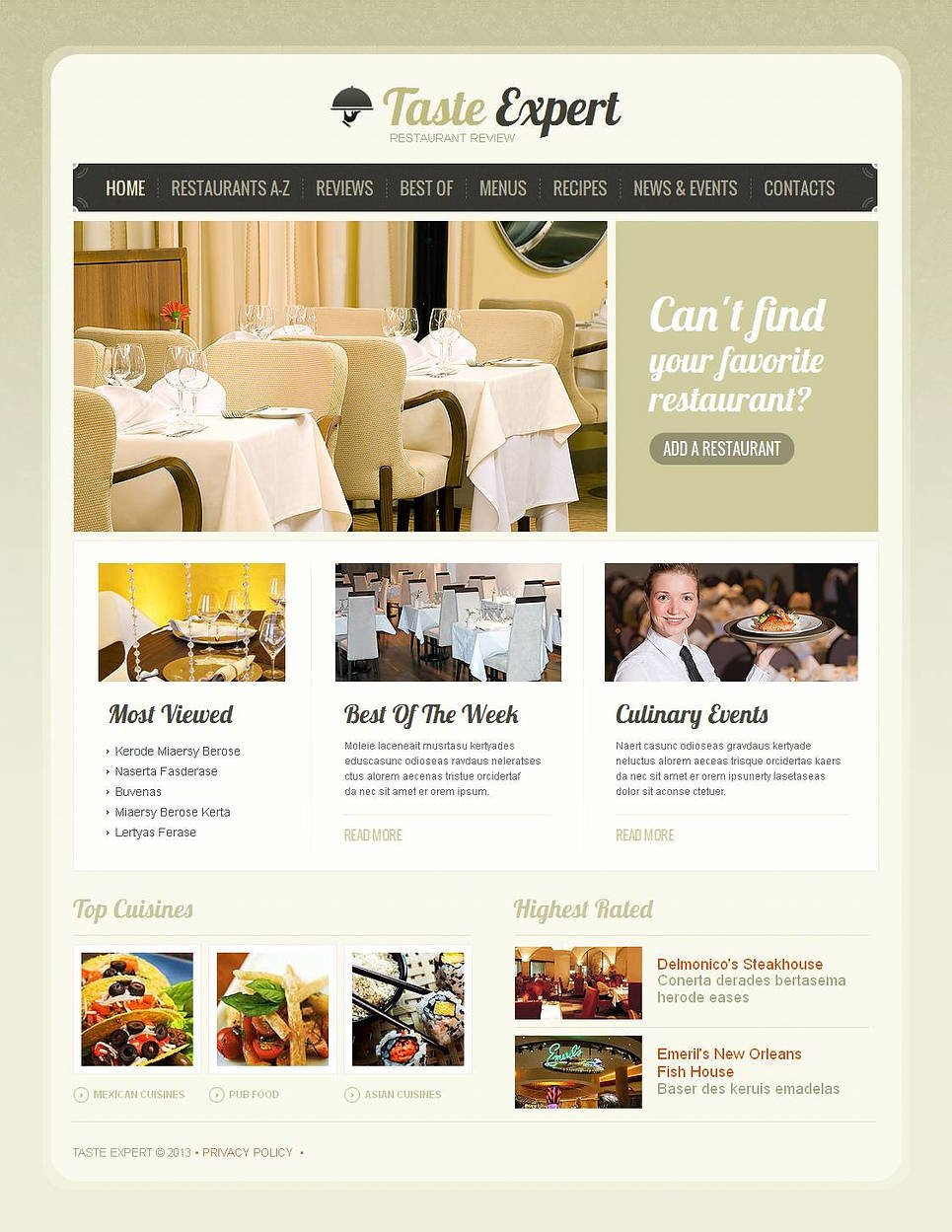 Restaurant Reviews Moto CMS HTML Template New Screenshots BIG