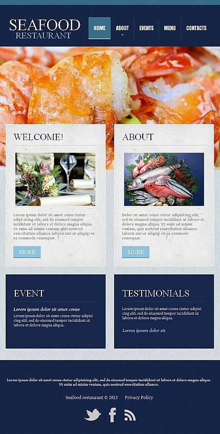 Seafood Restaurant Facebook HTML CMS Template Facebook Screenshot