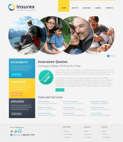 Template Moto CMS HTML №45354 para Sites de Seguros