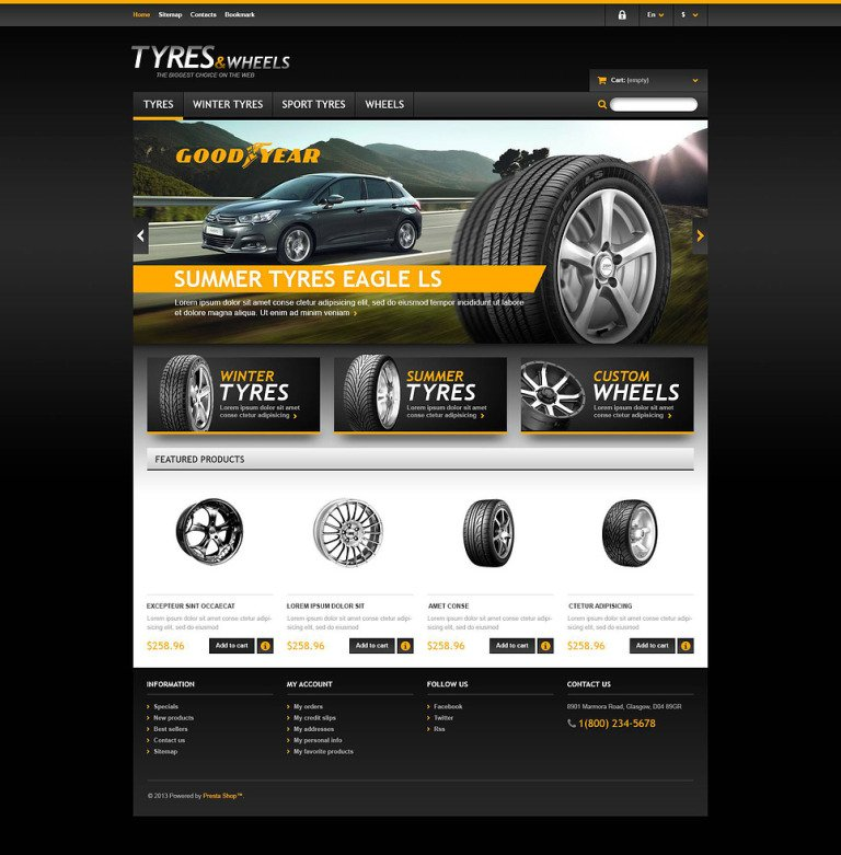 Tyres & Wheels Store PrestaShop Theme New Screenshots BIG