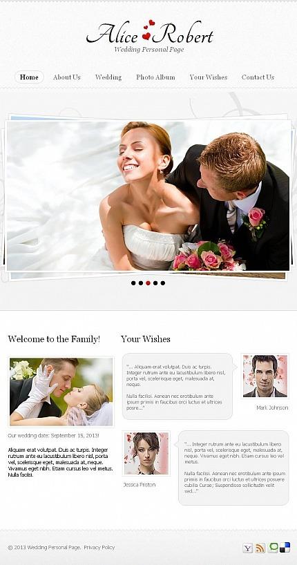 Wedding Album Facebook HTML CMS Template Facebook Screenshot