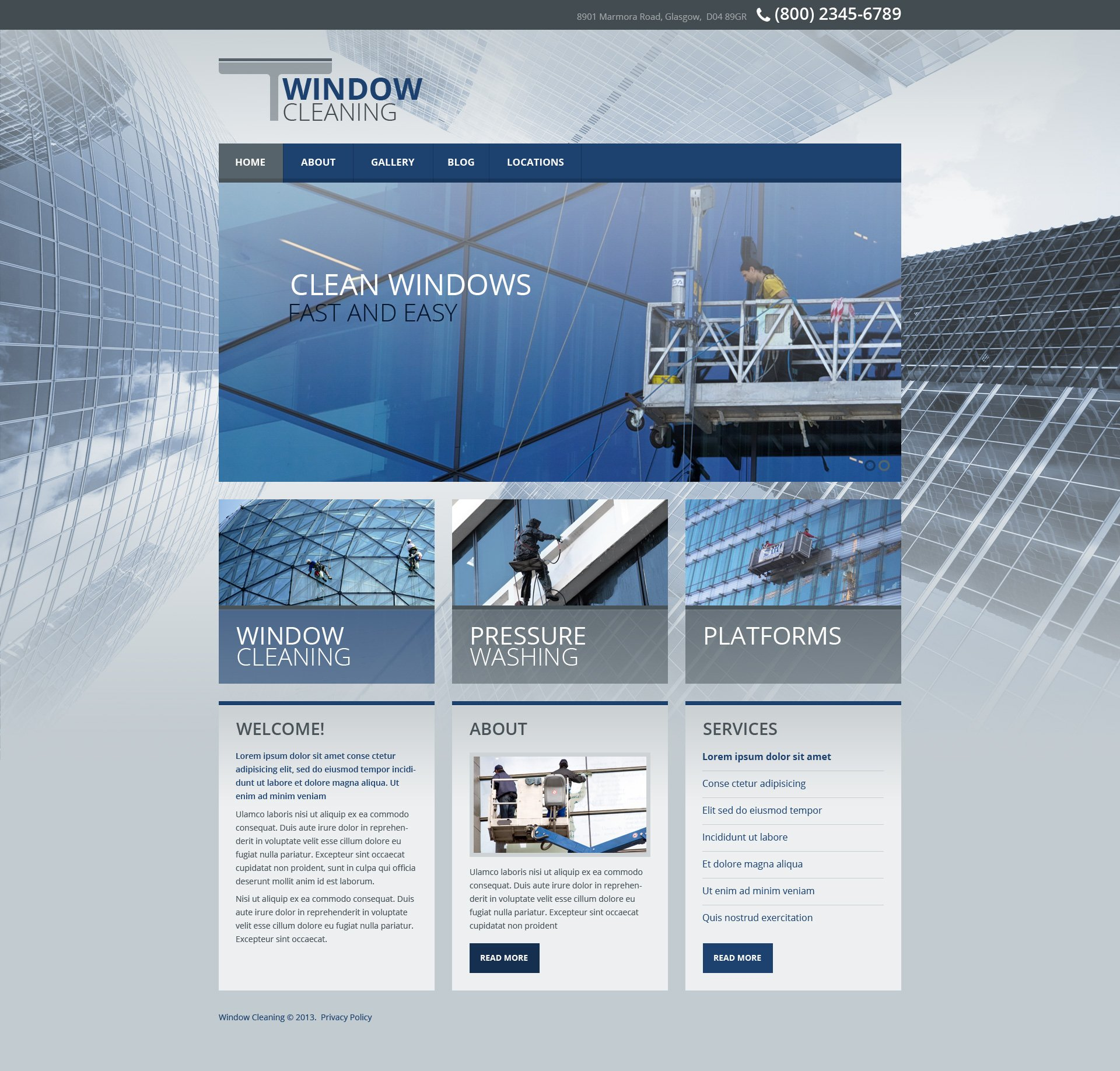 Window cleaning responsive website template 45319 for Window design template