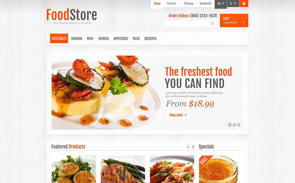 """PrestaShop Theme namens """"Responsive Lebensmittelgeschäft """" New Screenshots BIG"""