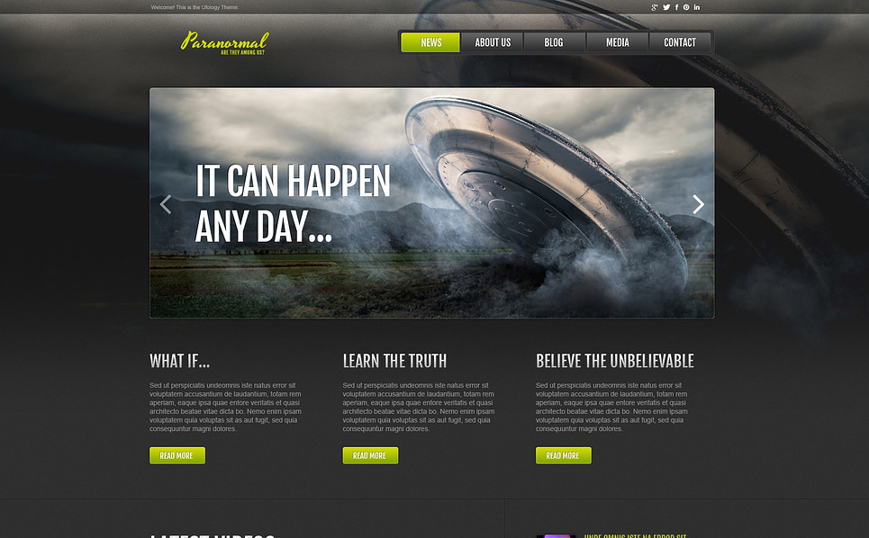 Responzivní Šablona webových stránek na téma UFO New Screenshots BIG