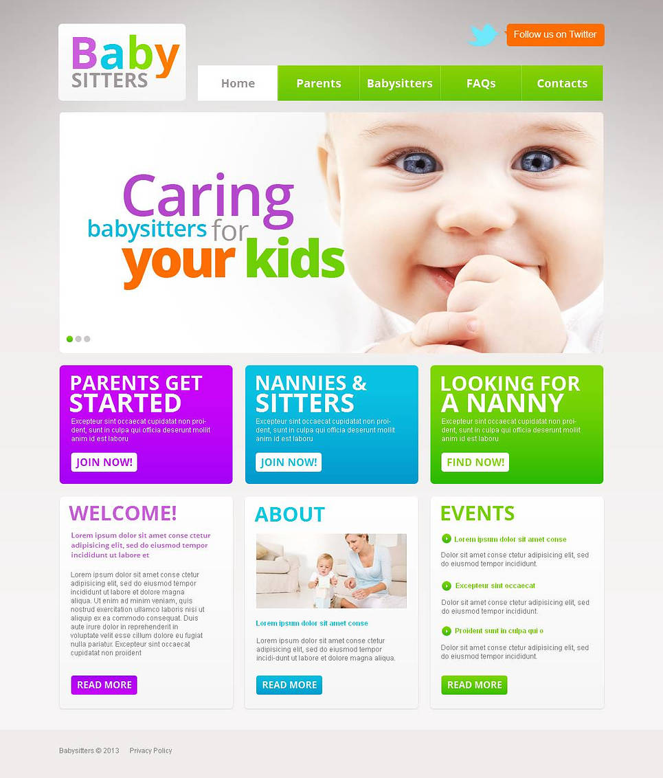 Multi-Colored Website Template for Babysitters - image