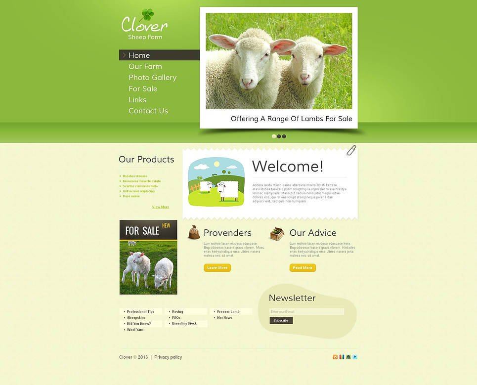 Creative Sheep Farm Website Template with Grid Photo Gallery - image