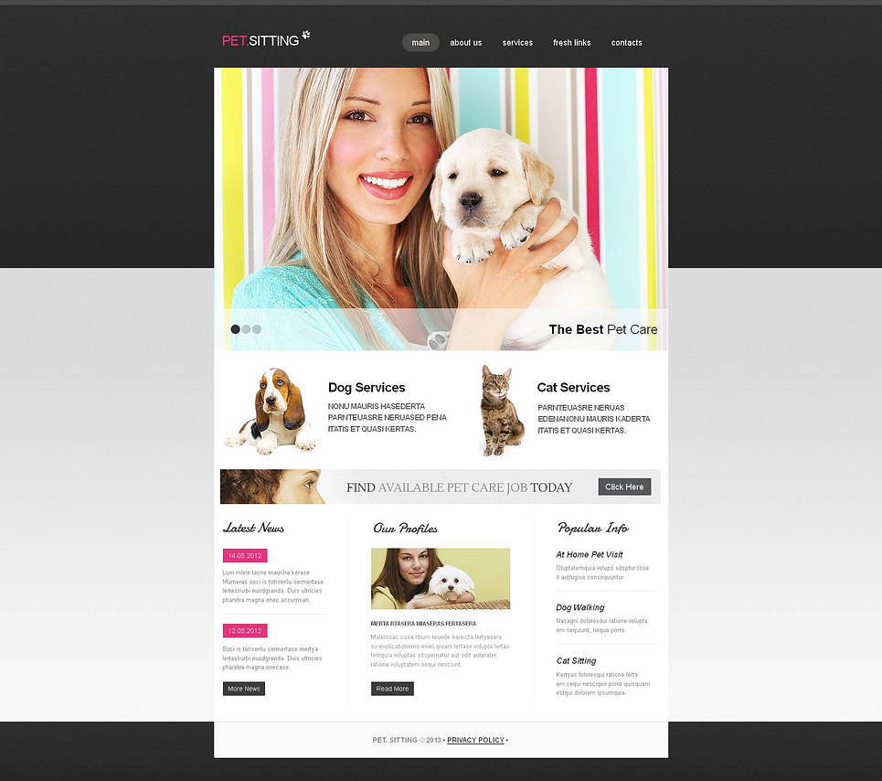 Pet Sitting Website Template with a jQuery Slider - image