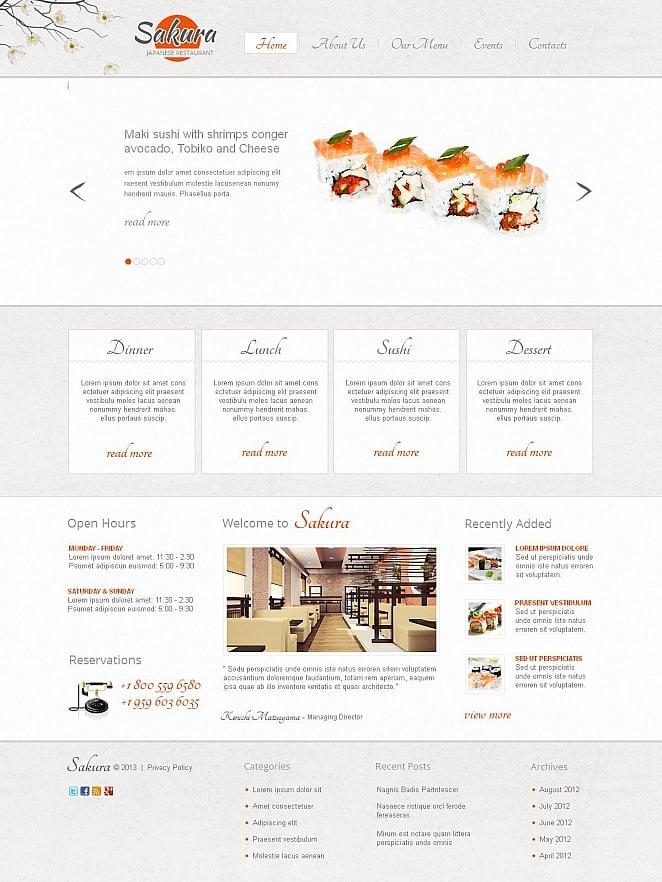 Japanese Restaurant Website Template Designed in Light Gray Tones - image