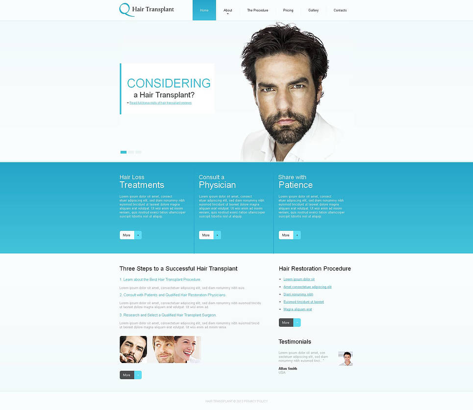 Hair Treatment Website Template - image