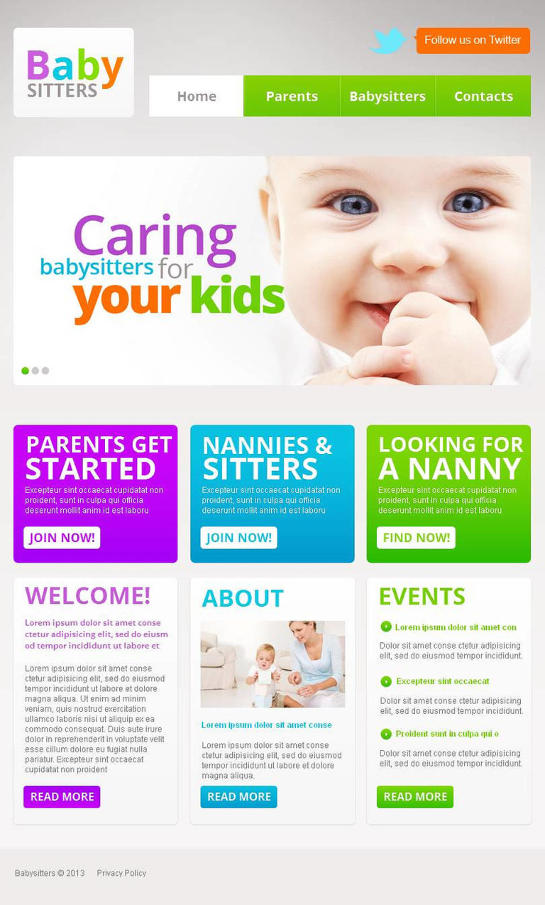 Babysitter Facebook HTML CMS Template New Screenshots BIG