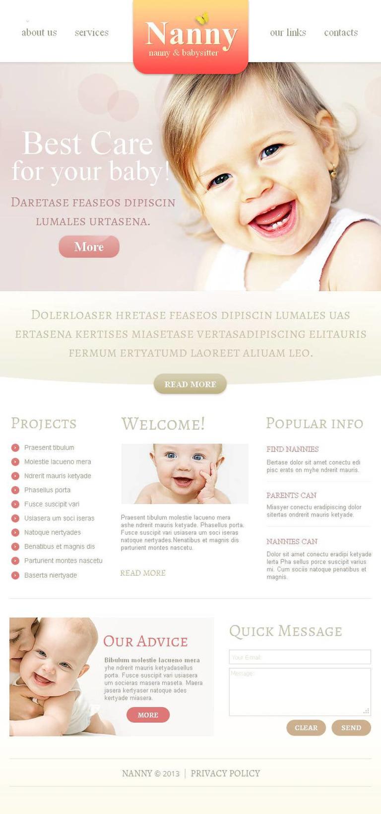 Babysitter Facebook HTML CMS Template New Screenshots BIG