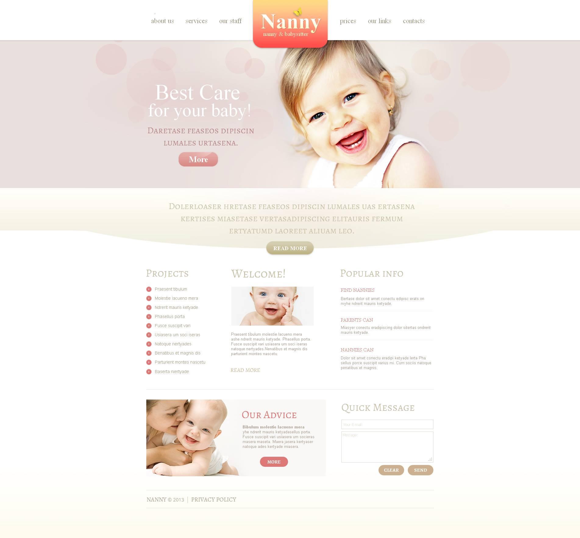 Babysitter Moto CMS HTML Template
