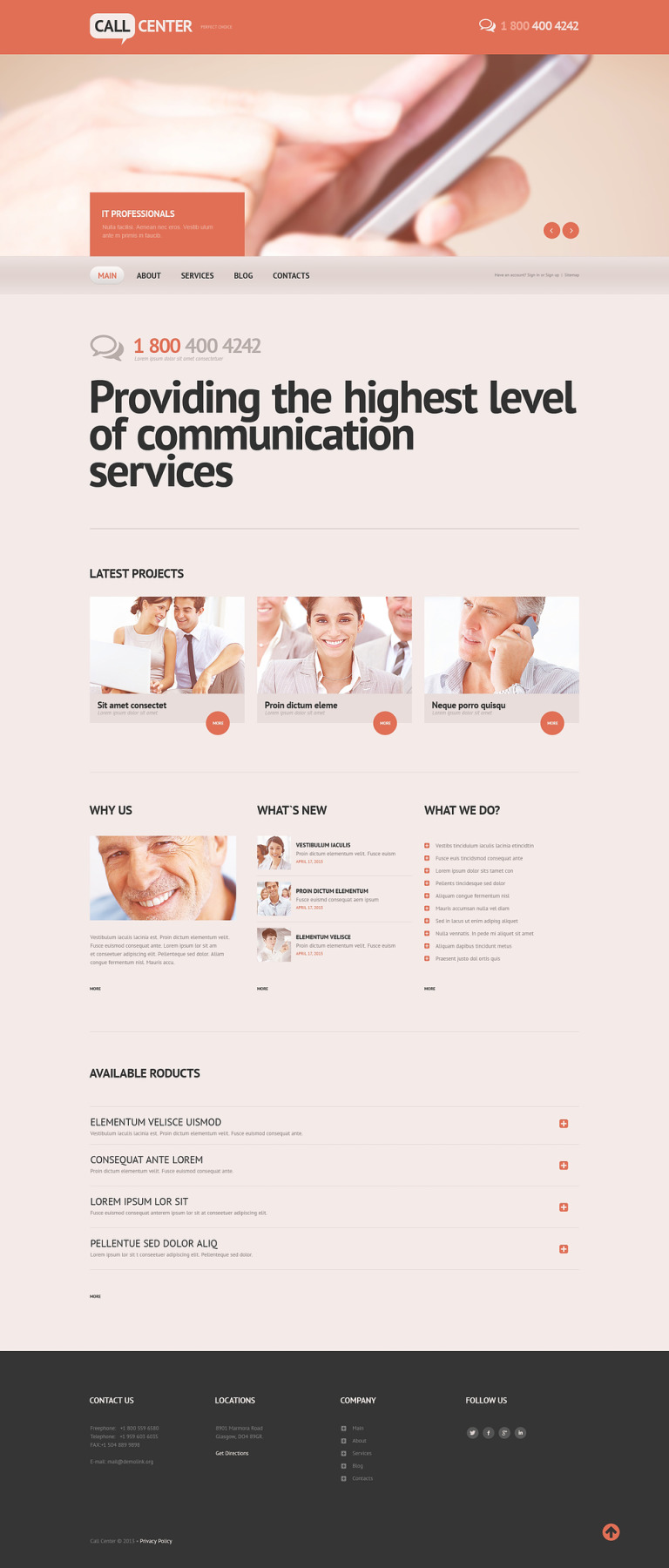Call Center Responsive Website Template New Screenshots BIG