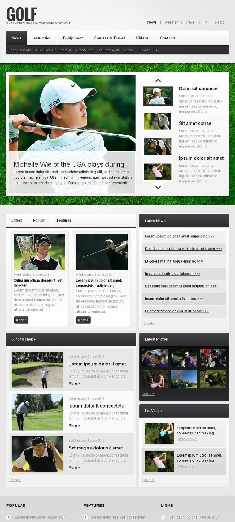 Golf Facebook HTML CMS Template New Screenshots BIG