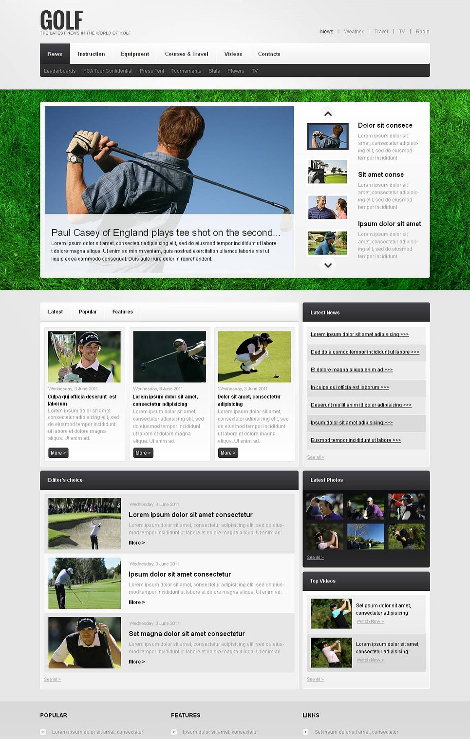 Golf Moto CMS HTML Template New Screenshots BIG