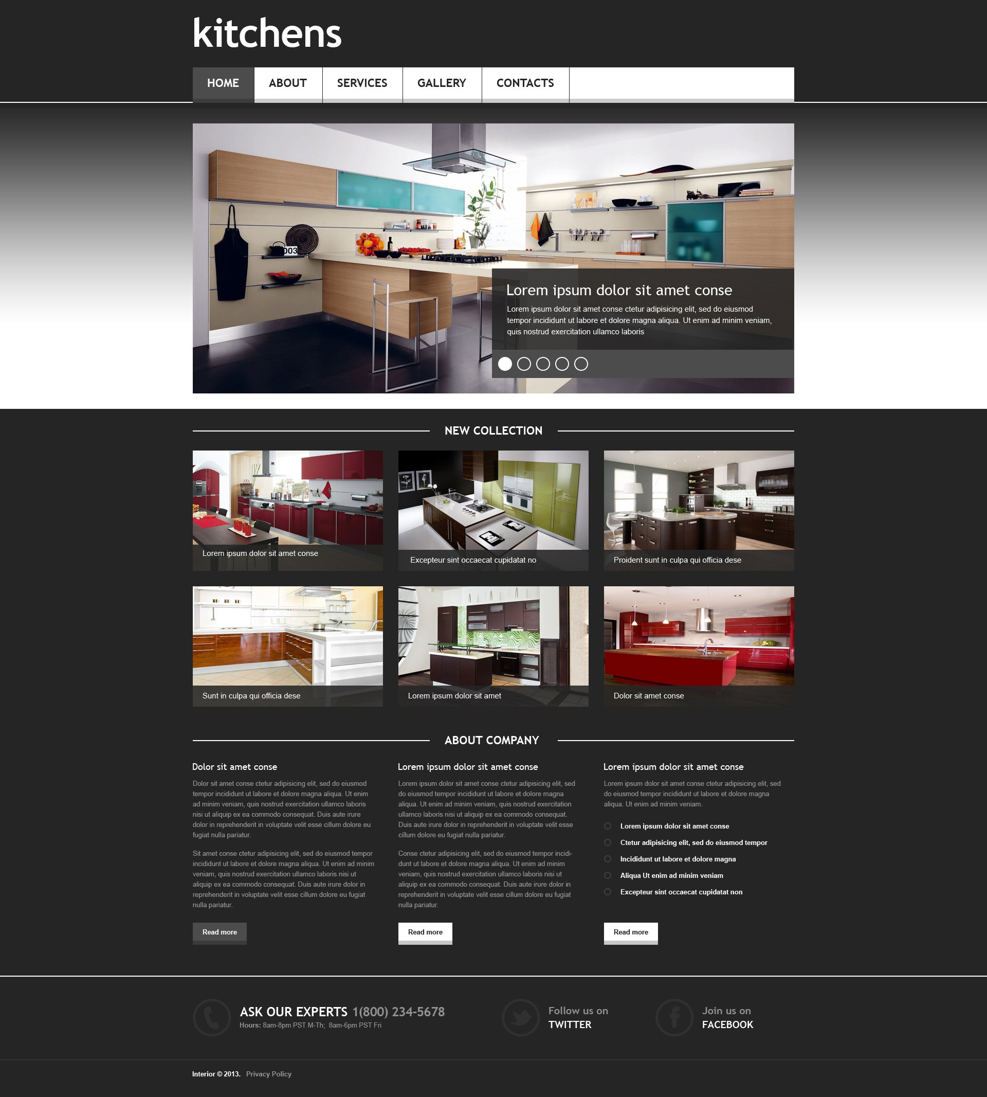 Interior design responsive website template 45404 for Websites for interior designers