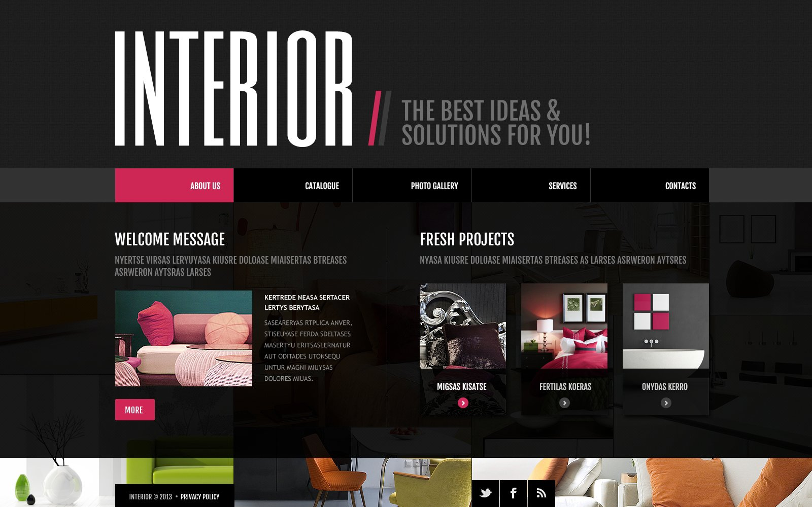 Interior design website template 45410 for Interior site
