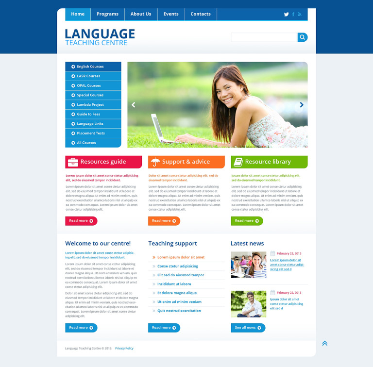 Language School Responsive Website Template New Screenshots BIG