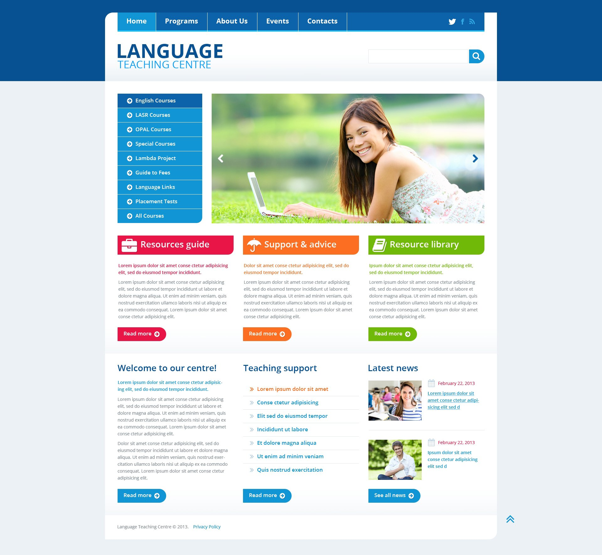 Language School Website Templates