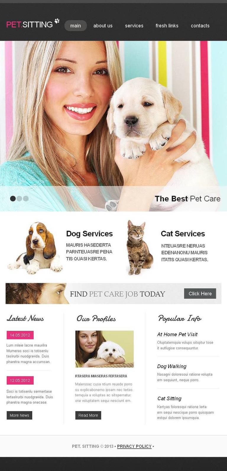 Pet Sitting Facebook HTML CMS Template New Screenshots BIG