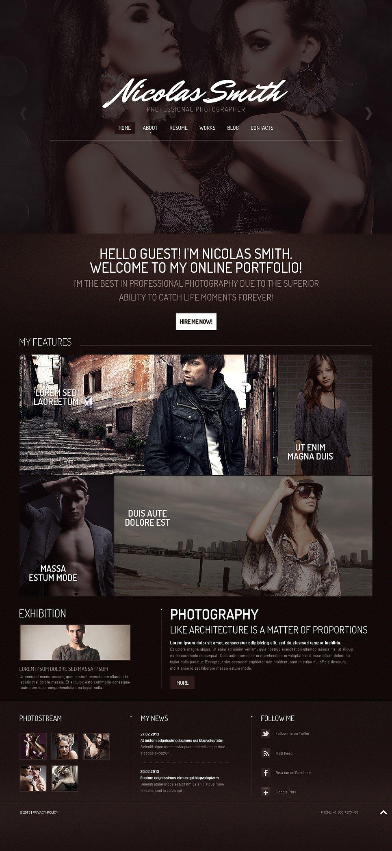 photographer portfolio responsive website template 45403. Black Bedroom Furniture Sets. Home Design Ideas