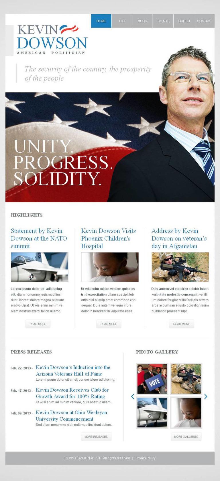 Political Candidate Facebook HTML CMS Template New Screenshots BIG