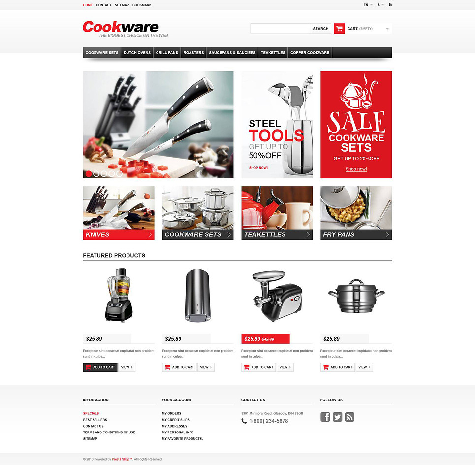 Responsive Cookwear Store PrestaShop Theme New Screenshots BIG