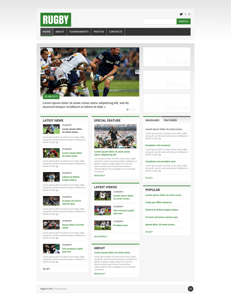 Rugby Responsive Website Template New Screenshots BIG