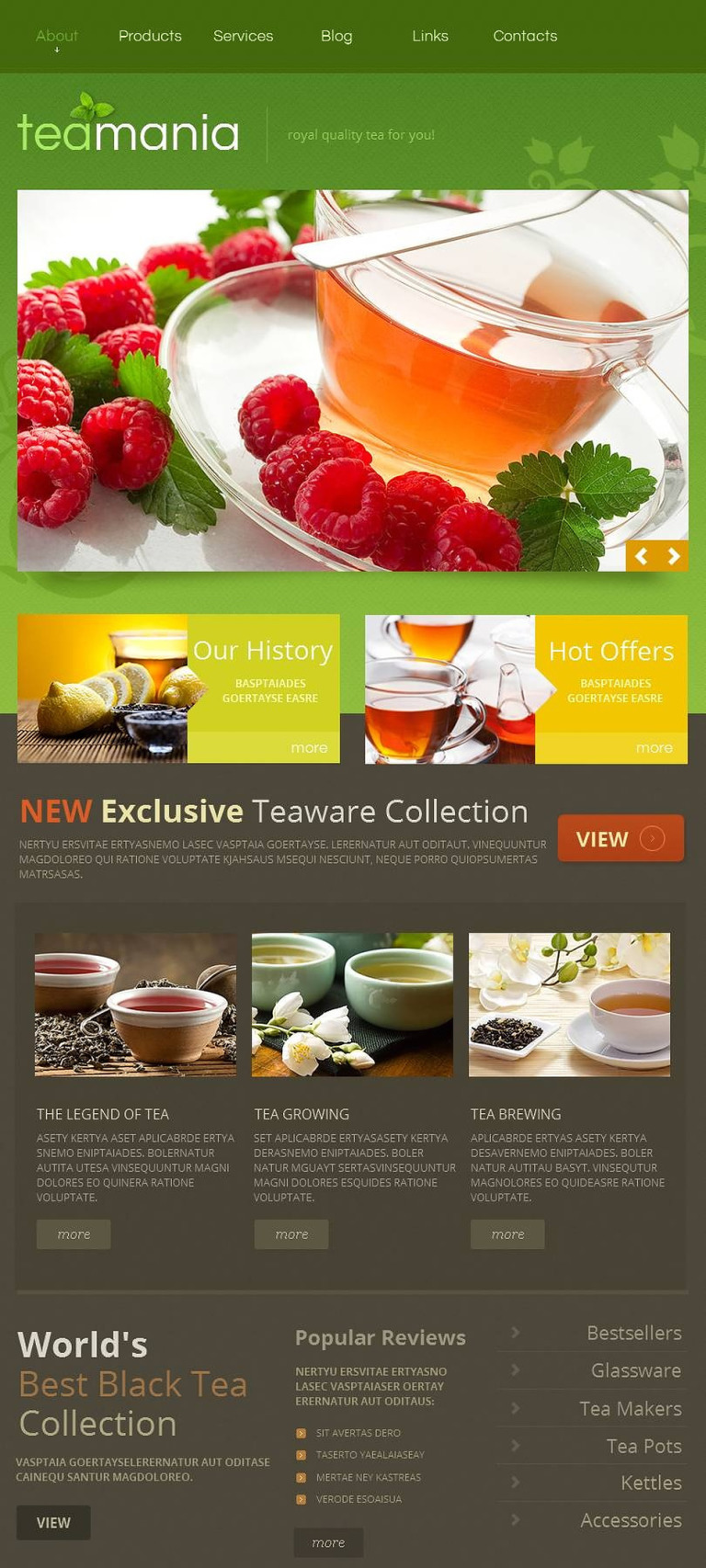 Tea Shop Facebook HTML CMS Template New Screenshots BIG
