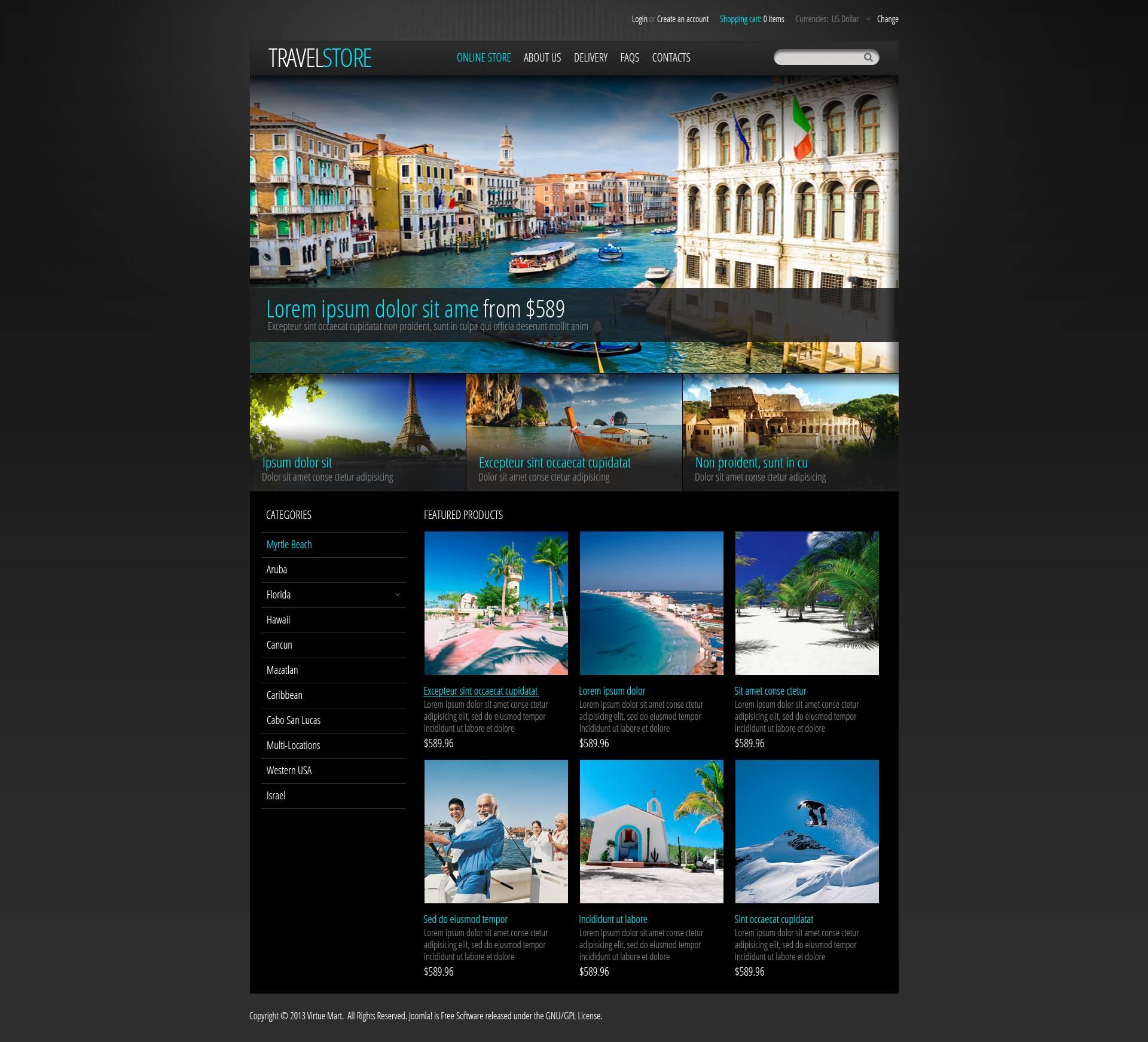 Travel Store Template VirtueMart №45478