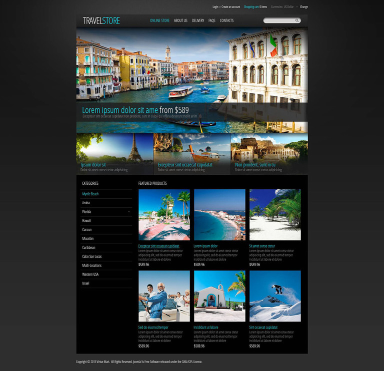 Travel Store VirtueMart Template New Screenshots BIG