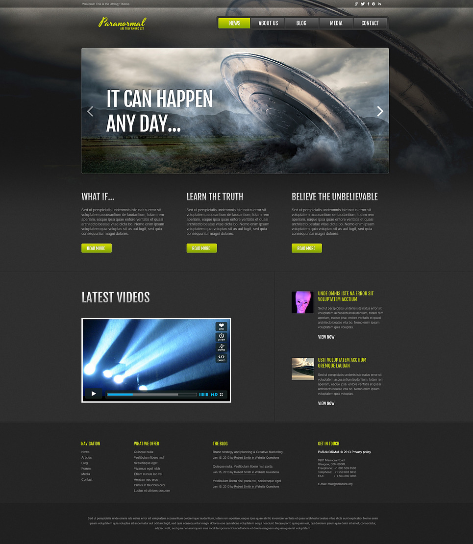 UFO Responsive Website Template New Screenshots BIG