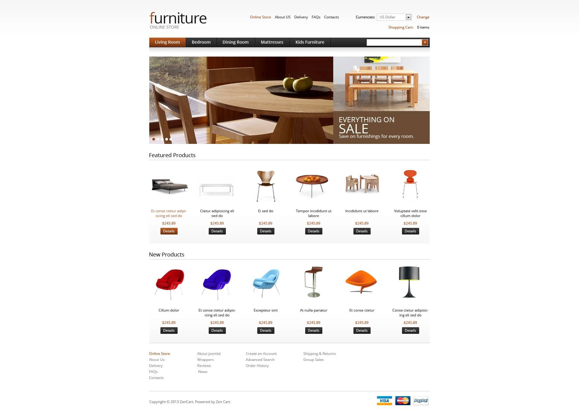 "VirtueMart Vorlage namens ""Furniture for Your Apartment"" #45480"