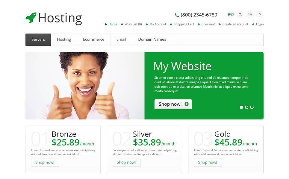 "OpenCart Vorlage namens ""Responsive Hosting Shop"" New Screenshots BIG"