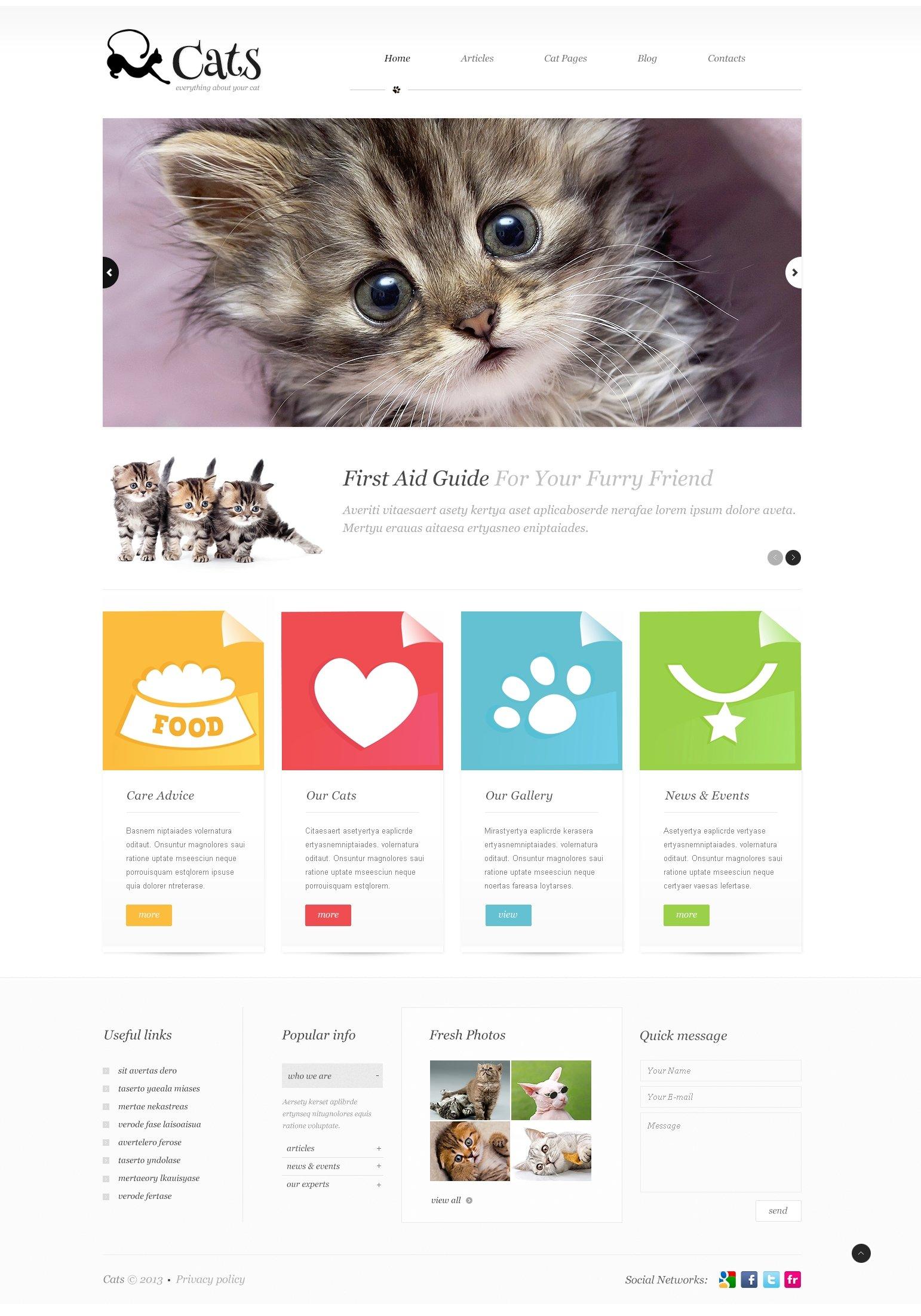 """About Cats"" - адаптивний WordPress шаблон №45582"